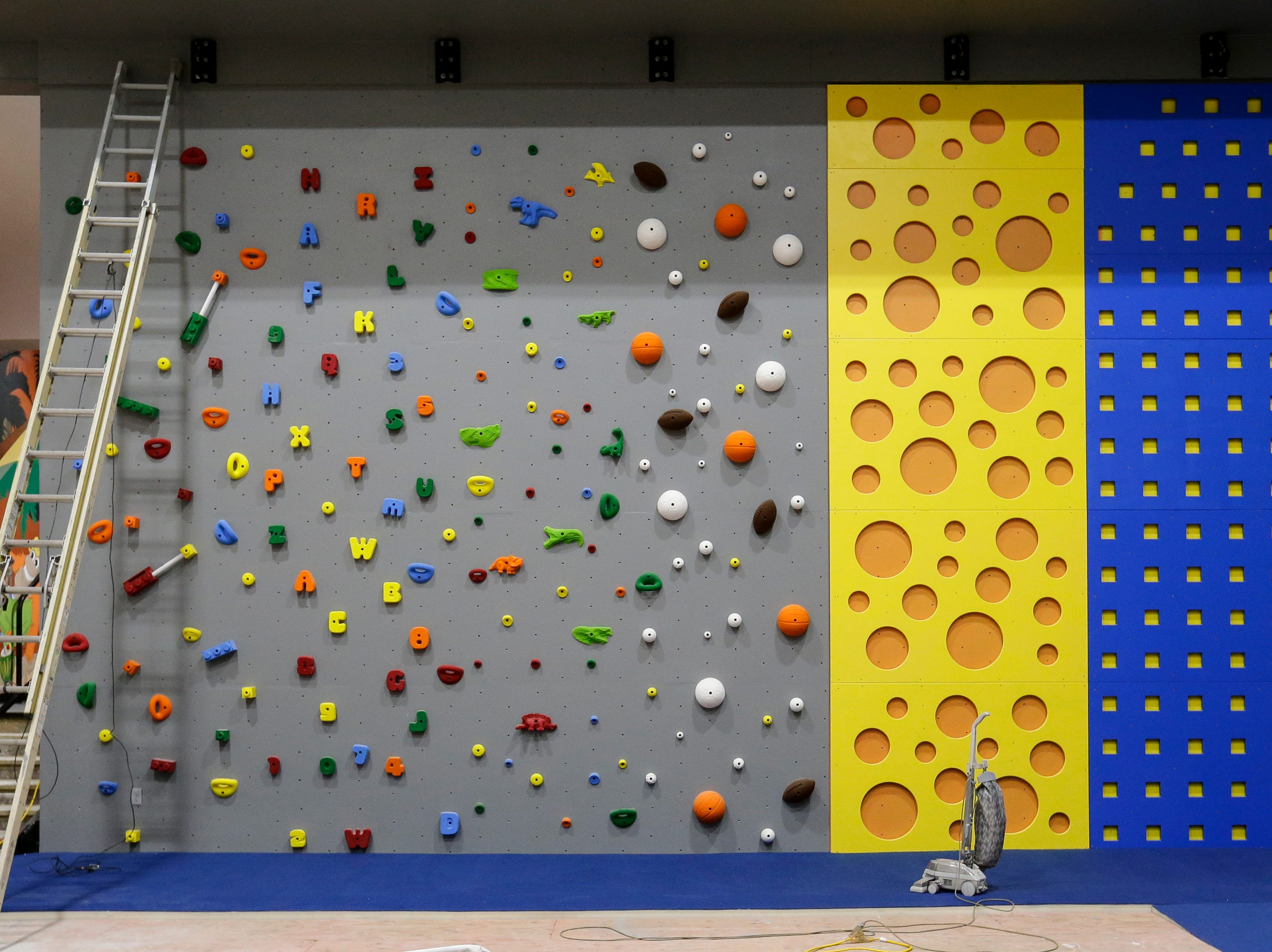 A climbing wall for younger children at Strand Adventures Wednesday, May 1, 2019, in Manitowoc, Wis. Joshua Clark/USA TODAY NETWORK-Wisconsin