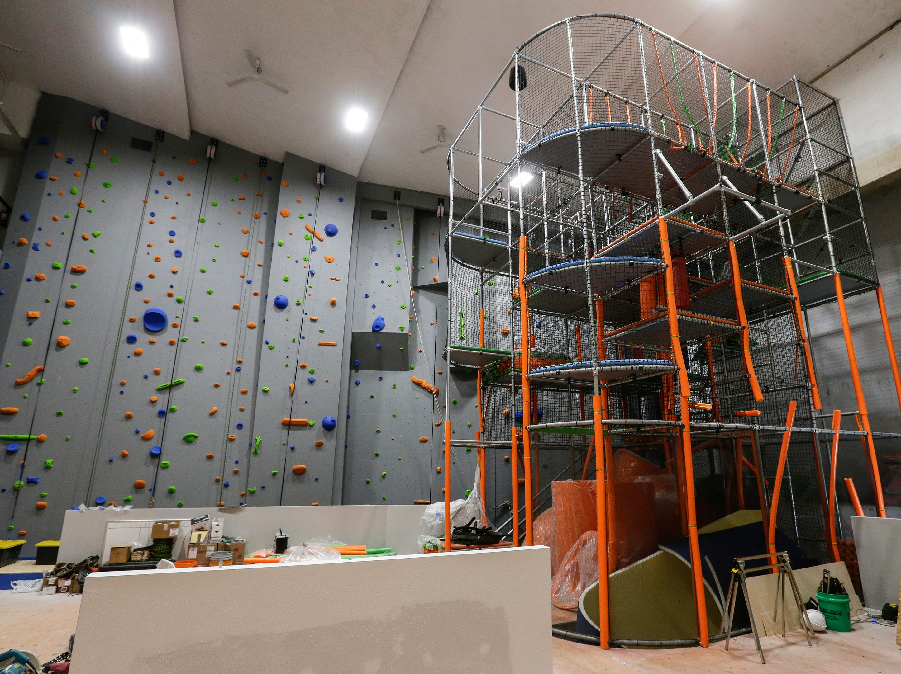 The climbing wall and jungle gym area at Strand Adventures Wednesday, May 1, 2019, in Manitowoc, Wis. Joshua Clark/USA TODAY NETWORK-Wisconsin