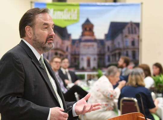 Destination Mansfield president Lee Tasseff speaks Wednesday afternoon during the Destination Mansfield annual meeting at the Mid-Ohio Conference Center.