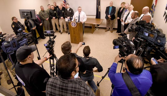 Mansfield Police Chief Ken Coontz, surrounded by area law enforcement, holds a press conference for media from around the state of Ohio on Thursday regarding the murder of Kaitlyn Carroll-Peak by Dakota M. Steagall.