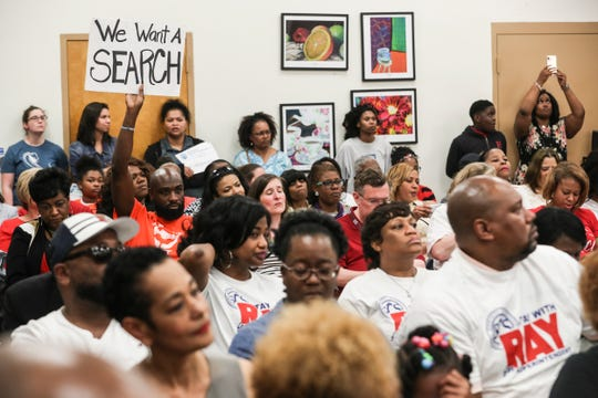 People filled the Shelby County School Board meeting on Tuesday evening, April 30, 2019. The Shelby County School Board voted on Tuesday night to hire interim Superintendent Joris Ray permanently to the post, halting its plans for a national search for a new leader.