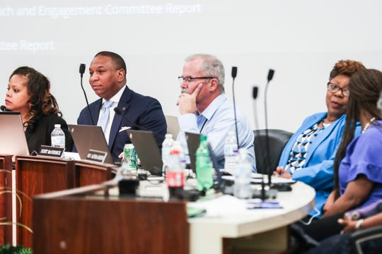 The Shelby County School Board voted on Tuesday night to hire interim Superintendent Joris Ray, second from left, permanently to the post, halting its plans for a national search for a new leader, April 30, 2019