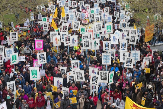 People crowd the steps of the Capitol during the Day Without Latinxs and Immigrants rally in Madison, Wis., on Wednesday.