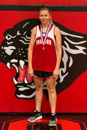 Norfork's Mackynzie Rangel won the Class 1A State discus championship on Tuesday at Mineral Springs.