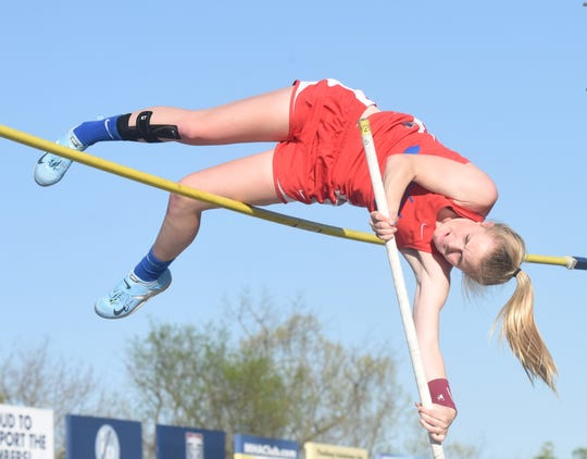 Melbourne's Audra Blevins goes for an attempt at the Bomber Relays earlier this season. Blevins won the state pole vault title, and the Lady Bearkatz edged Yellville-Summit for the team title on Tuesday at England.