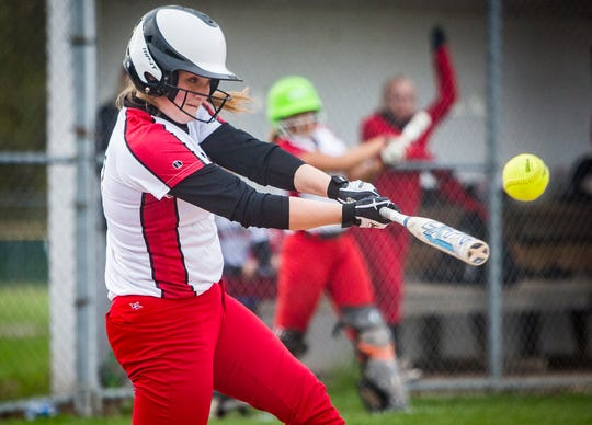 Wapahani's Mallory Summers swings against Daleville during their game at Wes-Del High School Tuesday, April 30, 2019.
