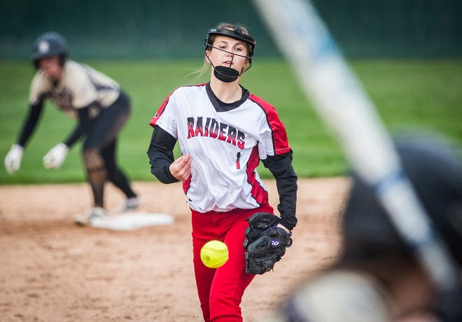 Wapahani's Katie Bray pitches against Daleville during their game at Wes-Del High School Tuesday, April 30, 2019.