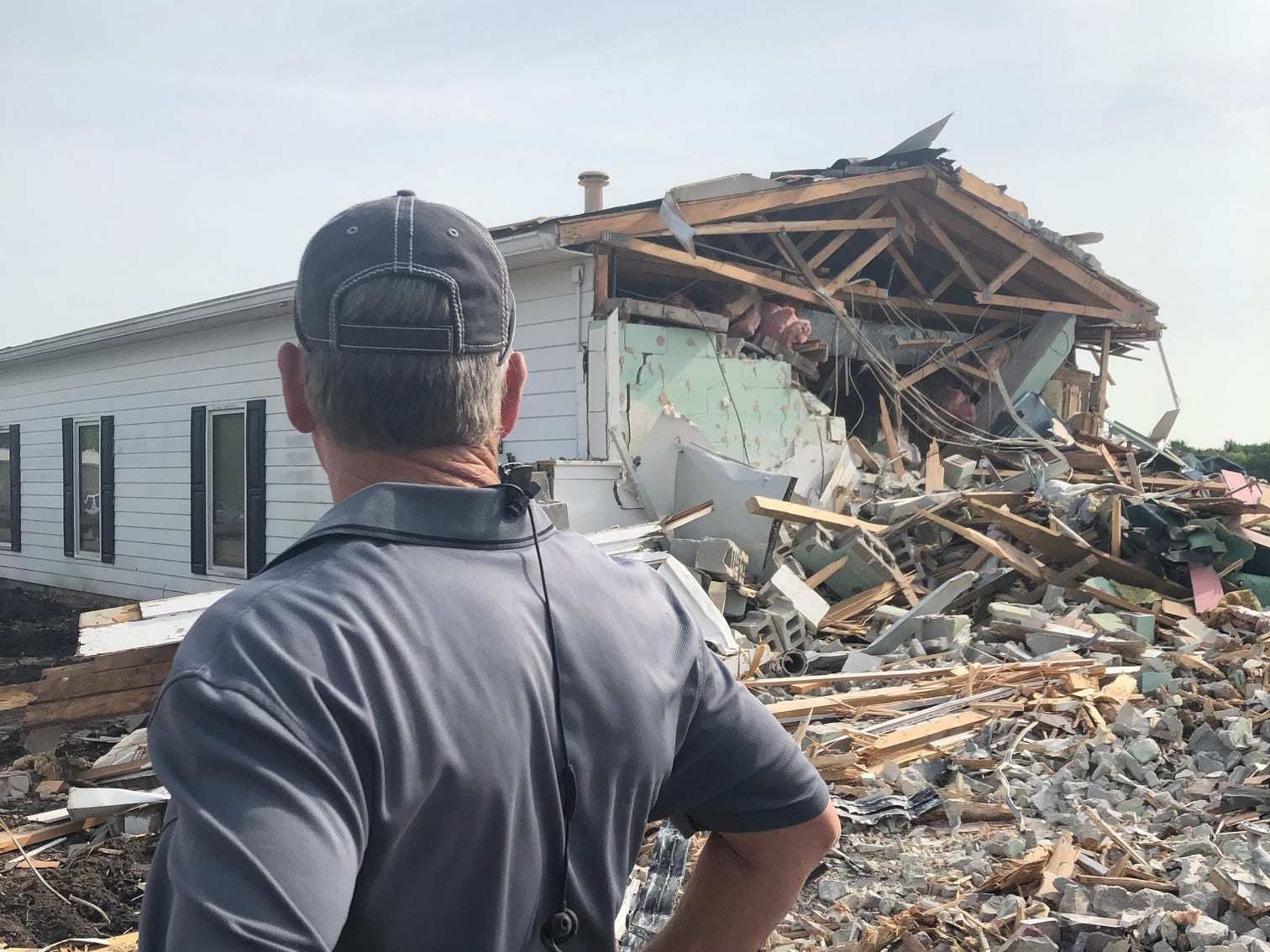 Murfreesboro Airport's terminal, built in 1952, was demolished Monday, April 29, 2019. The facility will be replaced with a modern building to be completed in 2020.