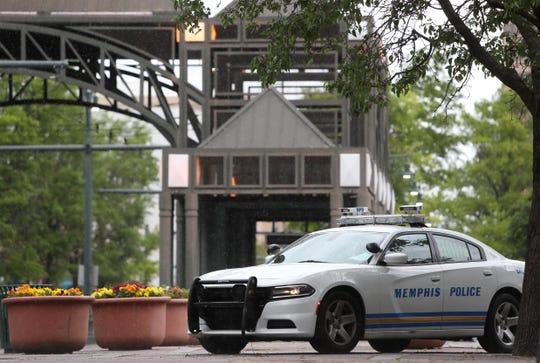 Memphis Police on Main Street downtown after an armed man threatened to shoot employees at police headquarters in Wednesday, May, 1, 2019.