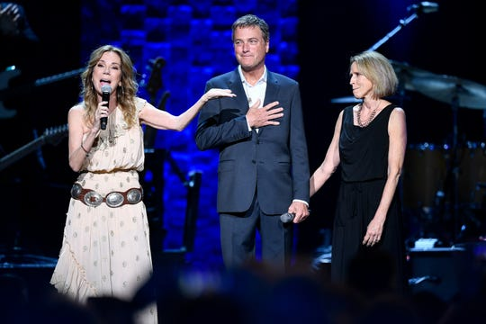 Kathie Lee Gifford introduces Michael W. Smith and his wife Debbie during the 35 Years of Friends: Celebrating the Music of Michael W. Smith concert at Bridgestone Arena in Nashville, Tenn., Tuesday, April 30, 2019.