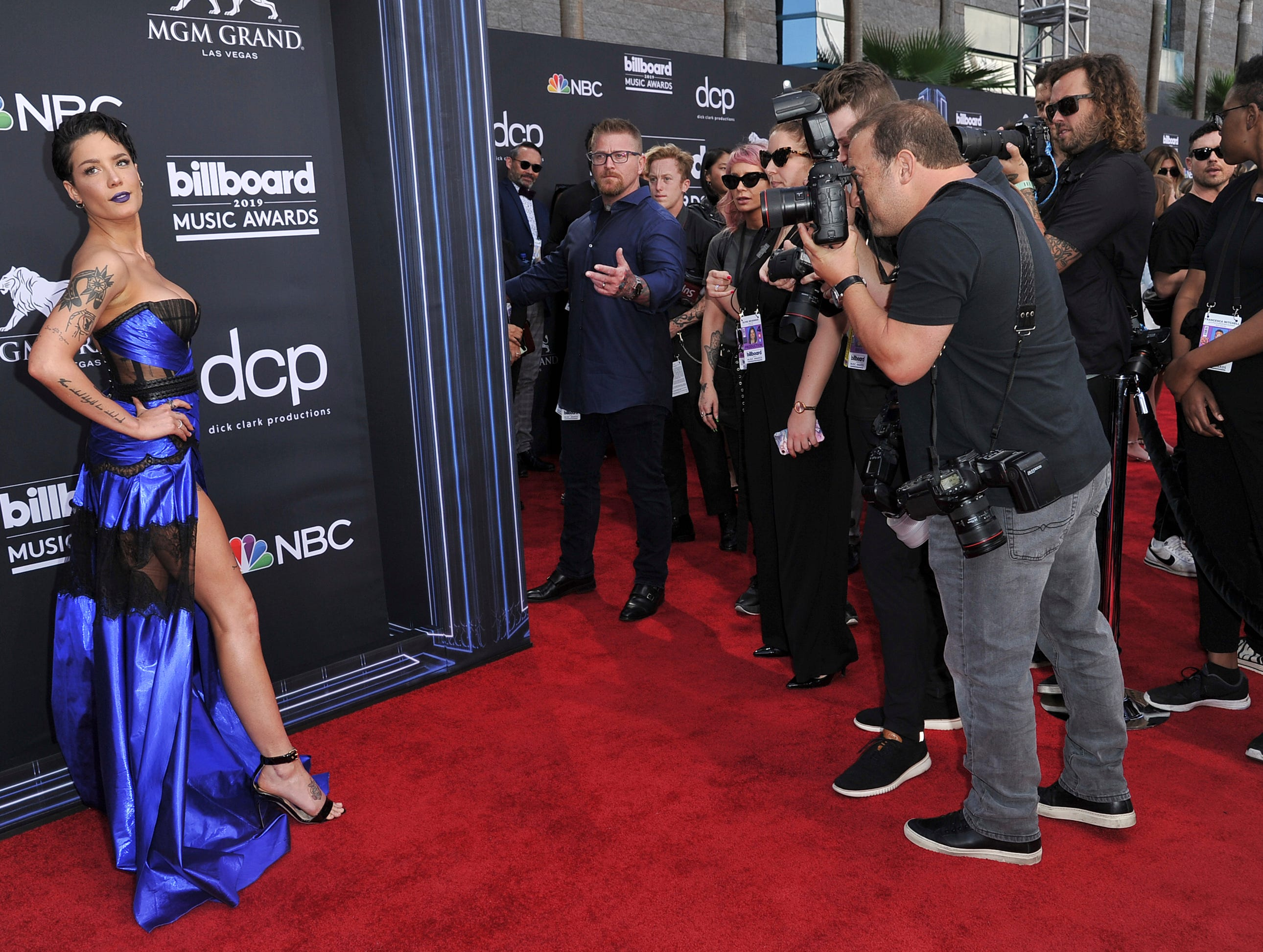 Halsey arrives at the Billboard Music Awards on Wednesday, May 1, 2019, at the MGM Grand Garden Arena in Las Vegas.