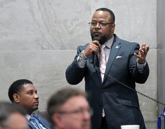 Rep. Antonio Parkinson speaks during the legislative session in Nashville on May 1, 2019.