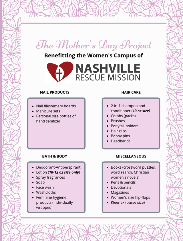 Help Nashville Rescue Mission make Mother's Day special for