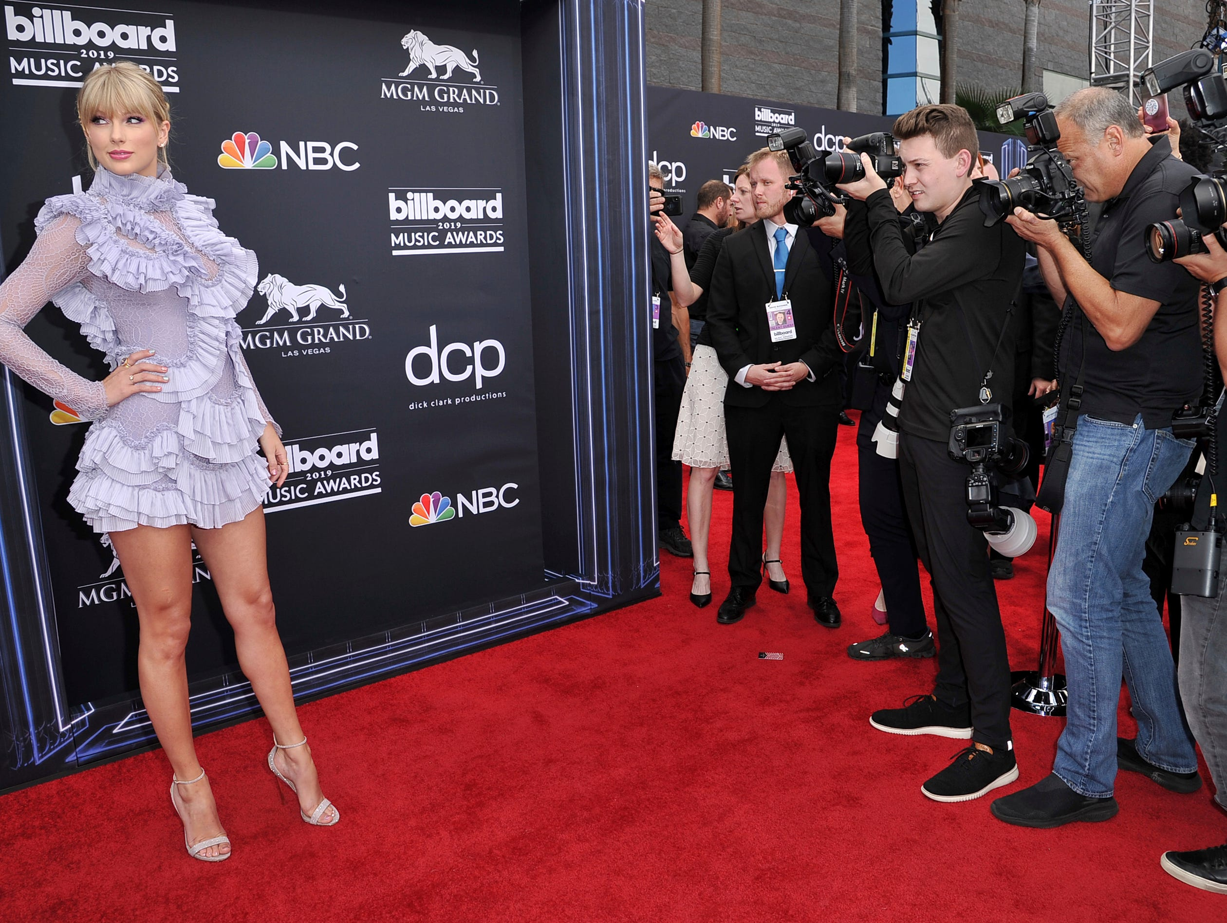 Taylor Swift arrives at the Billboard Music Awards on Wednesday, May 1, 2019, at the MGM Grand Garden Arena in Las Vegas.