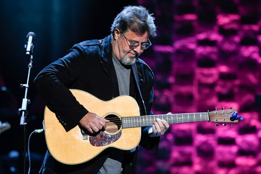 Vince Gill performs during the 35 Years of Friends: Celebrating the Music of Michael W. Smith concert at Bridgestone Arena in Nashville, Tenn., Tuesday, April 30, 2019.