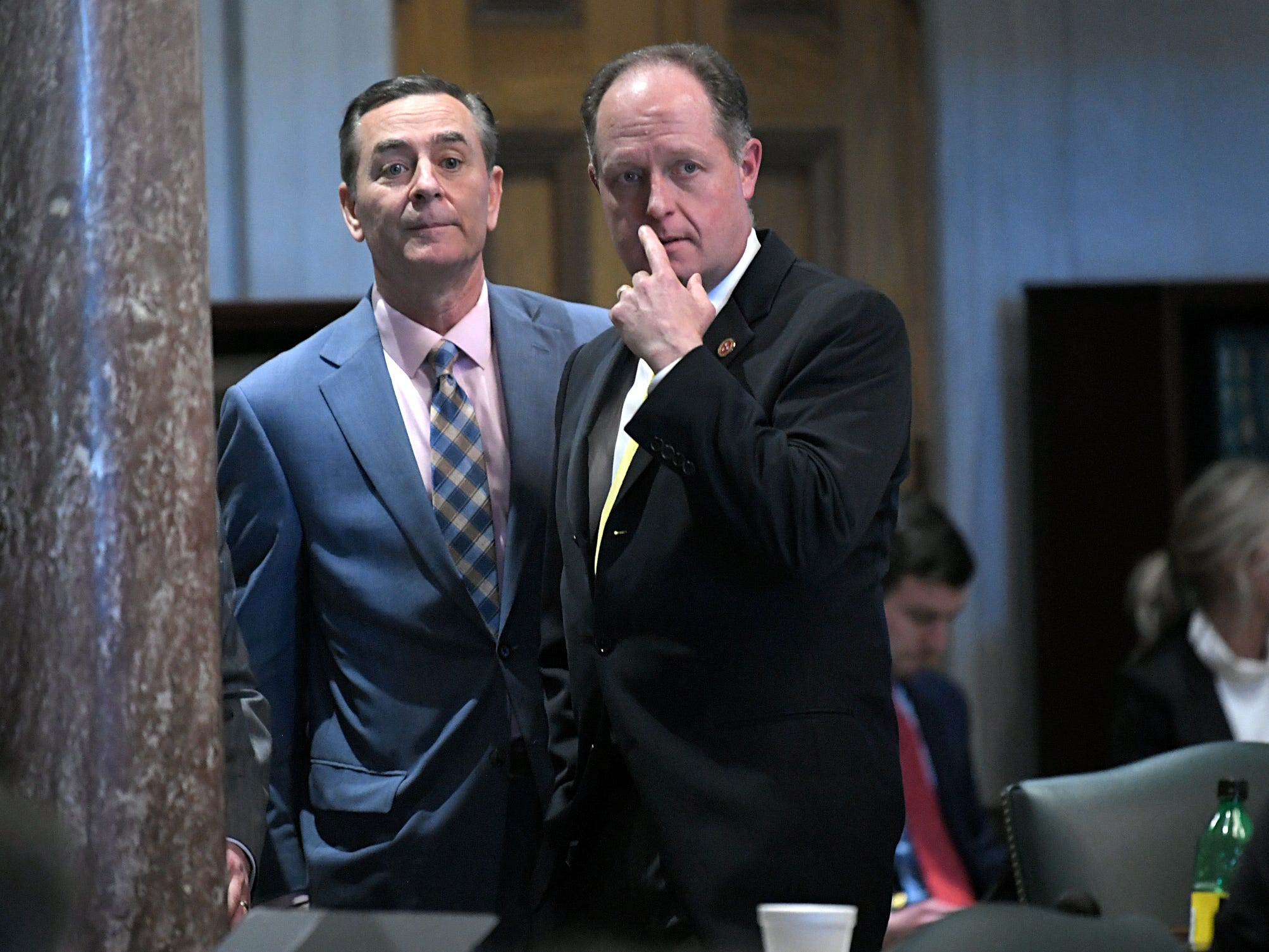 Speaker of the House Glen Casada and Senator Jack Johnson stand together in the senate after a vote on HB 939 during session in Nashville on Wednesday, May 1, 2019.