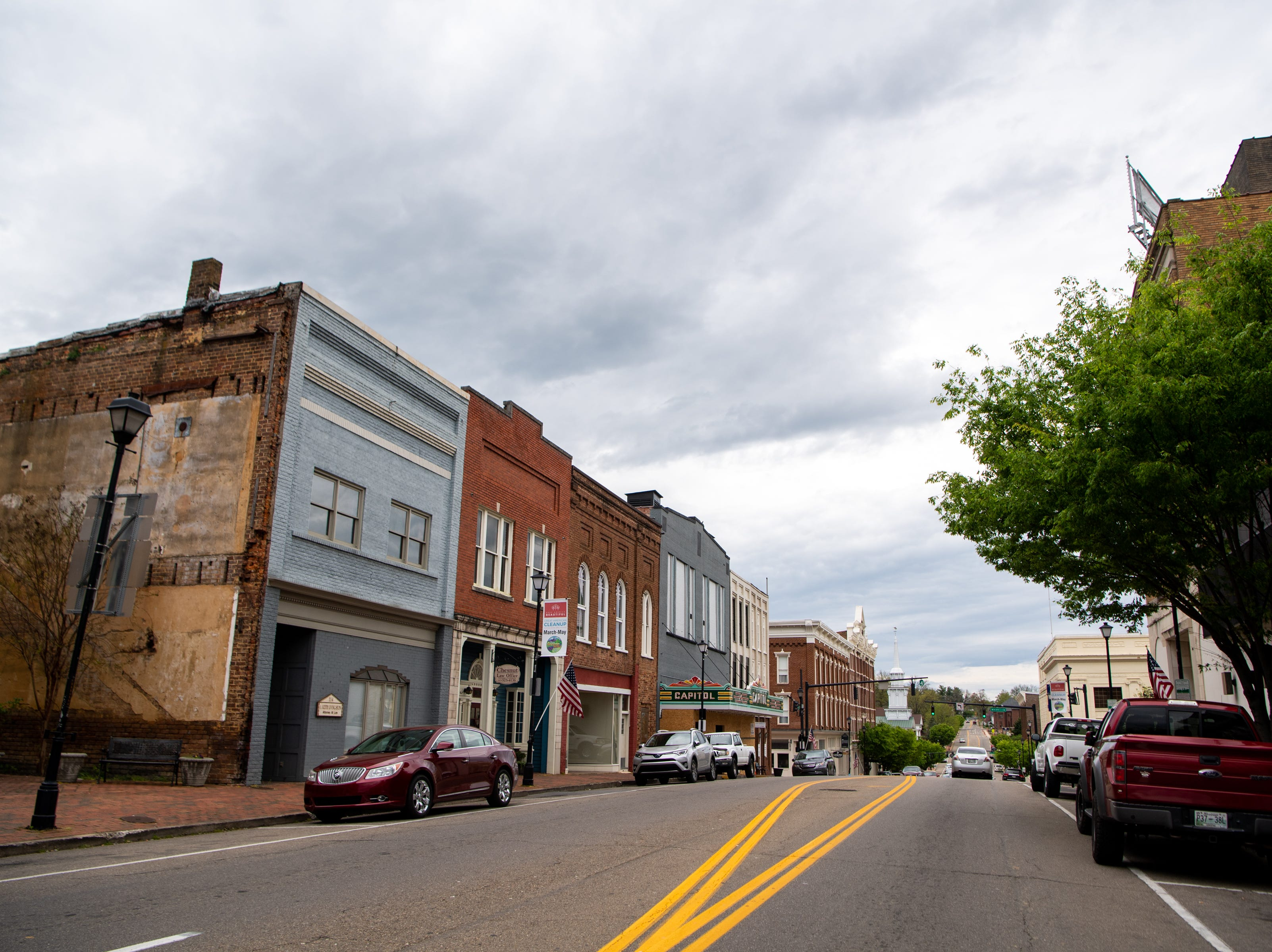 Clouds cover downtown Friday, April 12, 2019, in Greeneville, Tenn.