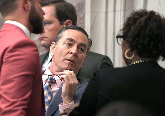 Speaker of the House Glen Casada speaks with Representative Karen Camper during session in Nashville on Wednesday, May 1, 2019.