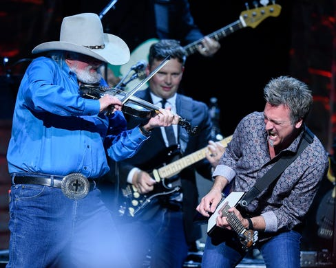 Charlie Daniels performs during the 35 Years of Friends: Celebrating the Music of Michael W. Smith concert at Bridgestone Arena in Nashville, Tenn., Tuesday, April 30, 2019.
