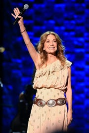 Kathie Lee Gifford greets the crowd during the 35 Years of Friends: Celebrating the Music of Michael W. Smith concert at Bridgestone Arena in Nashville, Tenn., Tuesday, April 30, 2019.