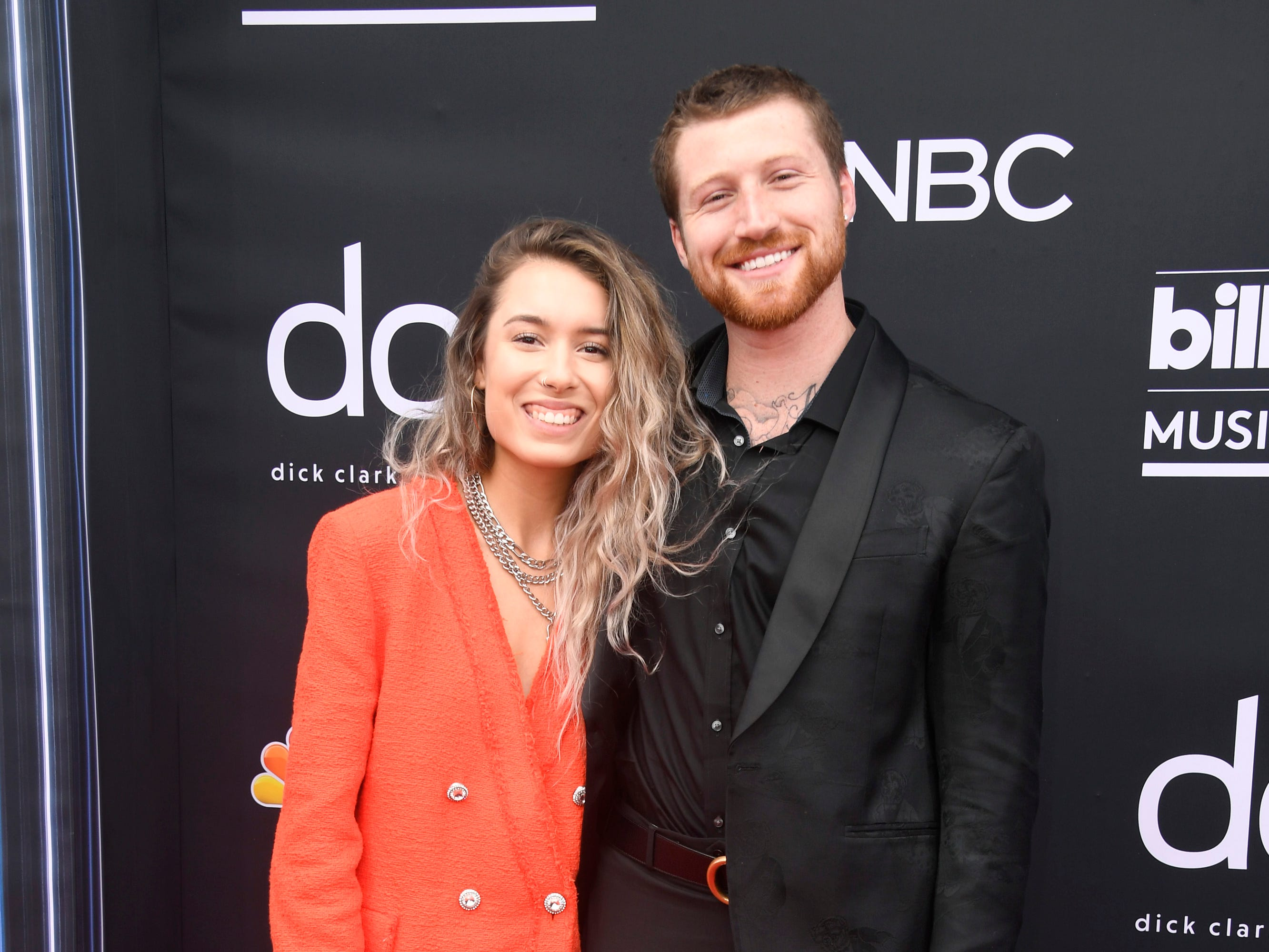 (L-R) Kristen McAtee and Scotty Sire attend the 2019 Billboard Music Awards at MGM Grand Garden Arena on May 01, 2019 in Las Vegas, Nevada.