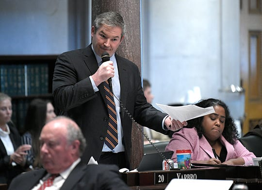 Senator Jeff Yarbro ask questions regarding a corrected fiscal note on HB939 during session in Nashville on Wednesday, May 1, 2019.