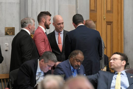 House Speaker Glen Casada's top aide Cade Cothren, second from left, confirmed that he used cocaine inside his legislative office building in recent years.
