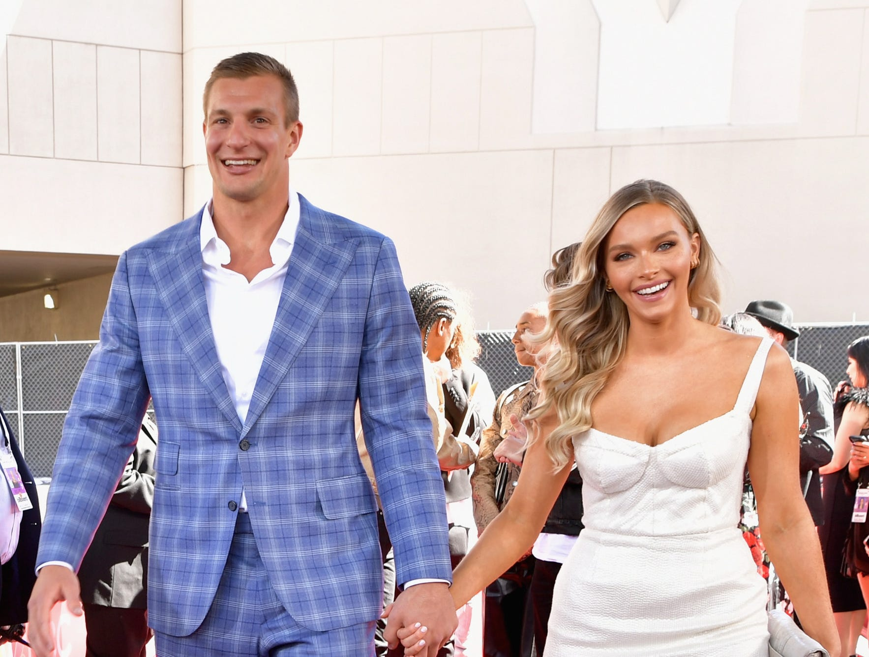 Rob Gronkowski and Camille Kostek attend the 2019 Billboard Music Awards at MGM Grand Garden Arena on May 1, 2019 in Las Vegas, Nevada.