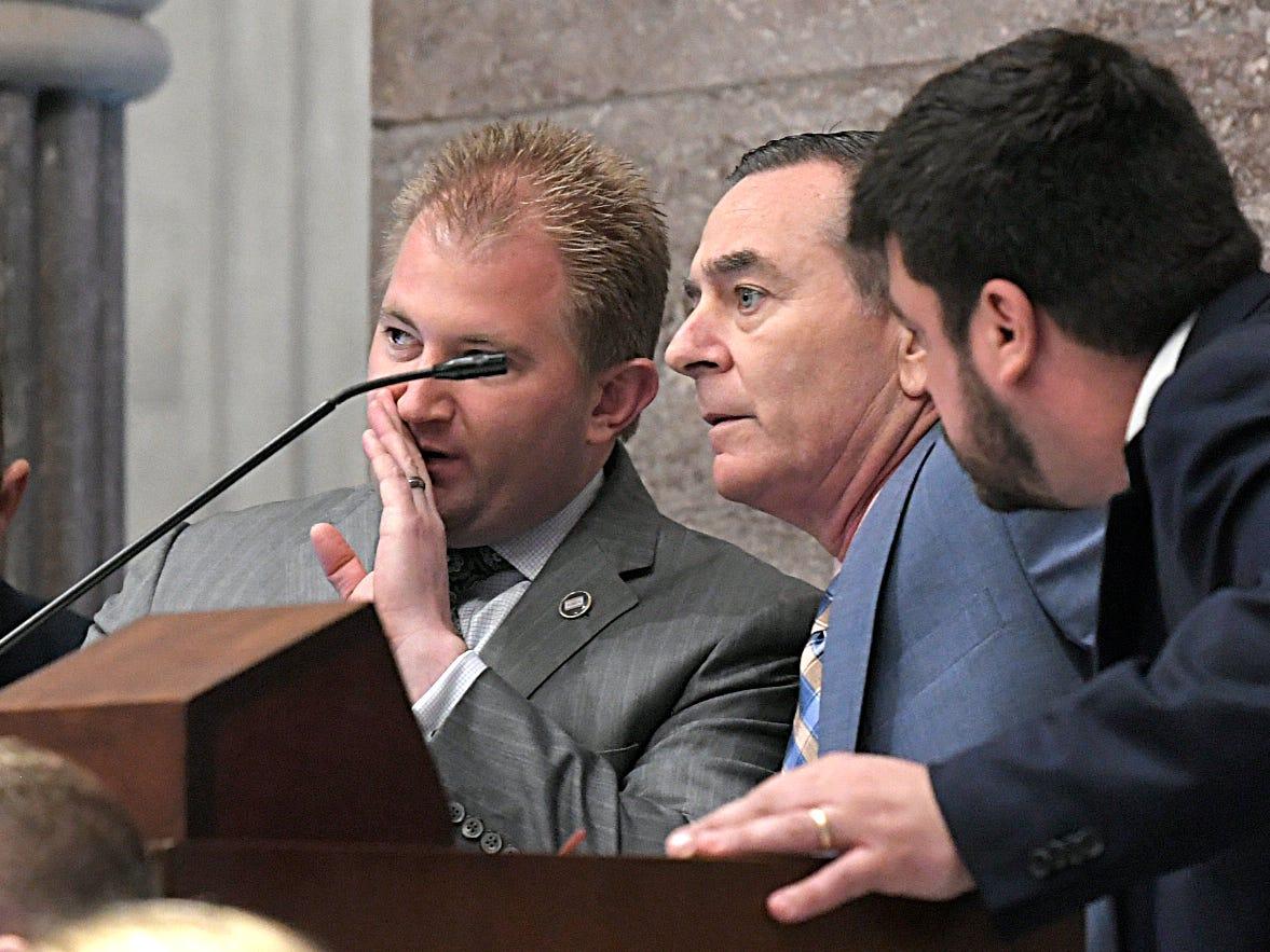 Speaker Glen Casada listens to members like Representative William Lamberth during session in Nashville on Wednesday, May 1, 2019.