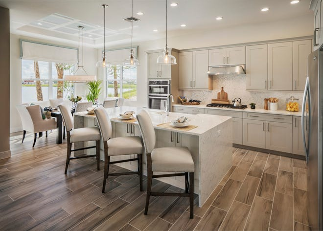 Azure at Hacienda Lakes is offering a fully furnished, designer decorated Martinique Coastal model home.