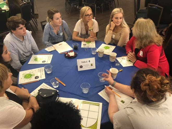 Young women participate in the 20th annual Girls Going Places conference in at Florida Gulf Coast University in Fort Myers on Wednesday, May 1, 2019.