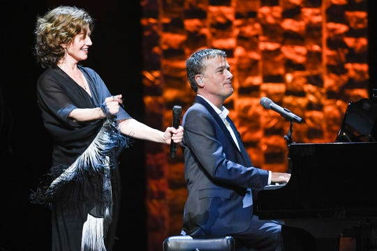 Amy Grant and Michael W. Smith perform during the 35 Years of Friends: Celebrating the Music of Michael W. Smith concert at Bridgestone Arena in Nashville, Tenn., Tuesday, April 30, 2019.