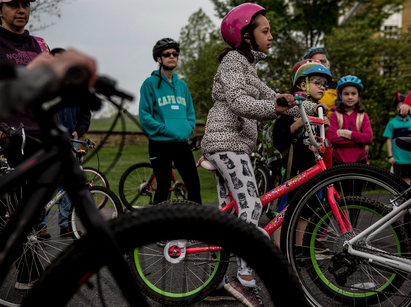 Around 45 parents and children bike from Bryn Du Mansion Wednesday morning to Granville Elementary School for Ride Your Bike to School Day. The event sponsored by the Granville Recreation District and  Turn Your Screen Off Week is one of many activities to get area youth engaged in the world around them and become more physically active.
