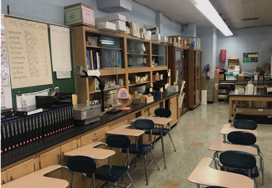 Science labs, including this dated chemistry classroom, would be renovated as part of the district's proposed $24.4 million project.