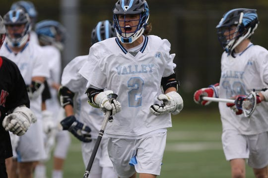 Tommy Moran, of Wayne Valley, is excited after scoring a first quarter goal  against Lakeland. Wednesday, May 1, 2019