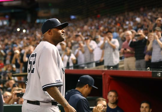 Apr 30, 2019; Phoenix, AZ, USA; New York Yankees pitcher CC Sabathia walks off the field after throwing the 3000th strikeout of his career against the Arizona Diamondbacks in the second inning at Chase Field.