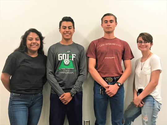 Deming High's Army  JROTC team. From left, Cadet Corporal Jazmin Celis, 16, Cadet Staff Sergeant Juan Contreras, 15, Cadet Command Sergeant Major John Denning, 17, and Cadet Major Acey Hokit, 17.
