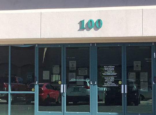 This commercial address within the Las Cruces city limits is displayed correctly — on the front of building and facing the street.