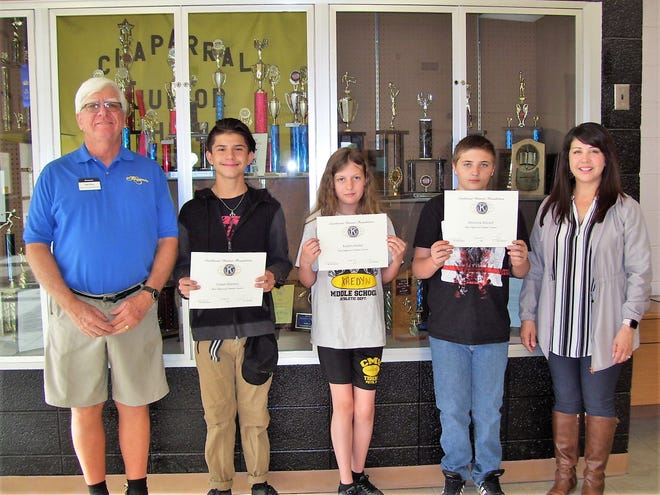 Alamogordo Kiwanis Club announced its Most Improved Students for April. Pictured from Chaparral Middle School are Ned Kline (Kiwanis), Carson Martinez, Kaedyn Hanker, Dominick Mitchell, and Principal Cynthia Bond.