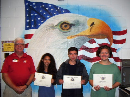 Alamogordo Kiwanis Club announced its Most Improved Students for April. Pictured from Holloman Middle School are Ned Kline (Kiwanis), Autumn Hirajeta, Andrew Ruiz, and Madison Wellman.