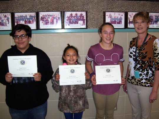 Alamogordo Kiwanis Club announced its Most Improved Students for April. Pictured from Mountain View Middle School are Angel Guerra, Nevaeh Alirez, Aliyah Villa, and Assistant Principal Alicia Edgin.