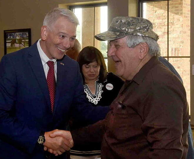Gubernatorial candidate Ralph Abraham greets supporters during an event Tuesday at the Equine Center in Opelousas