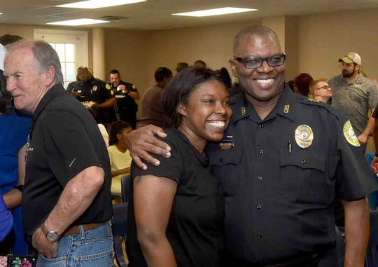 """Opelousas Chief of Police Martin McLendon welcomes Opelousas residents to the Opelousas City Hall Tuesday for a """"meet and greet"""" with his officers and other newly elected city officials."""