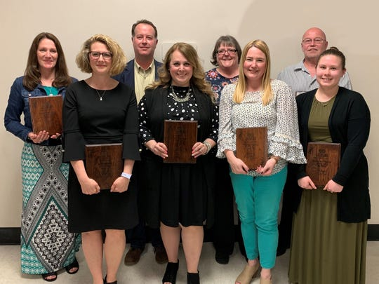 2019 Employees of the Year for the Oshkosh Area School District include: Back row, from left: Julaine Hale, Paul Stellpflug, Cheryl Pagel and Dan Gomoll. Front row, from left: Lisa McLaughlin, Audrey Spanbauer, Bonnie Smith and Alyssa Rumlow.