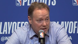 Bucks head coach Mike Budenholzer discusses Giannis Antetokounmpo's improvement between Games 1 and 2 in their series against the Celtics.