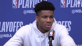 Bucks forward Giannis Antetokounmpo discusses looking to pass to his teammates early in Game 2 before he put points on the board himself.