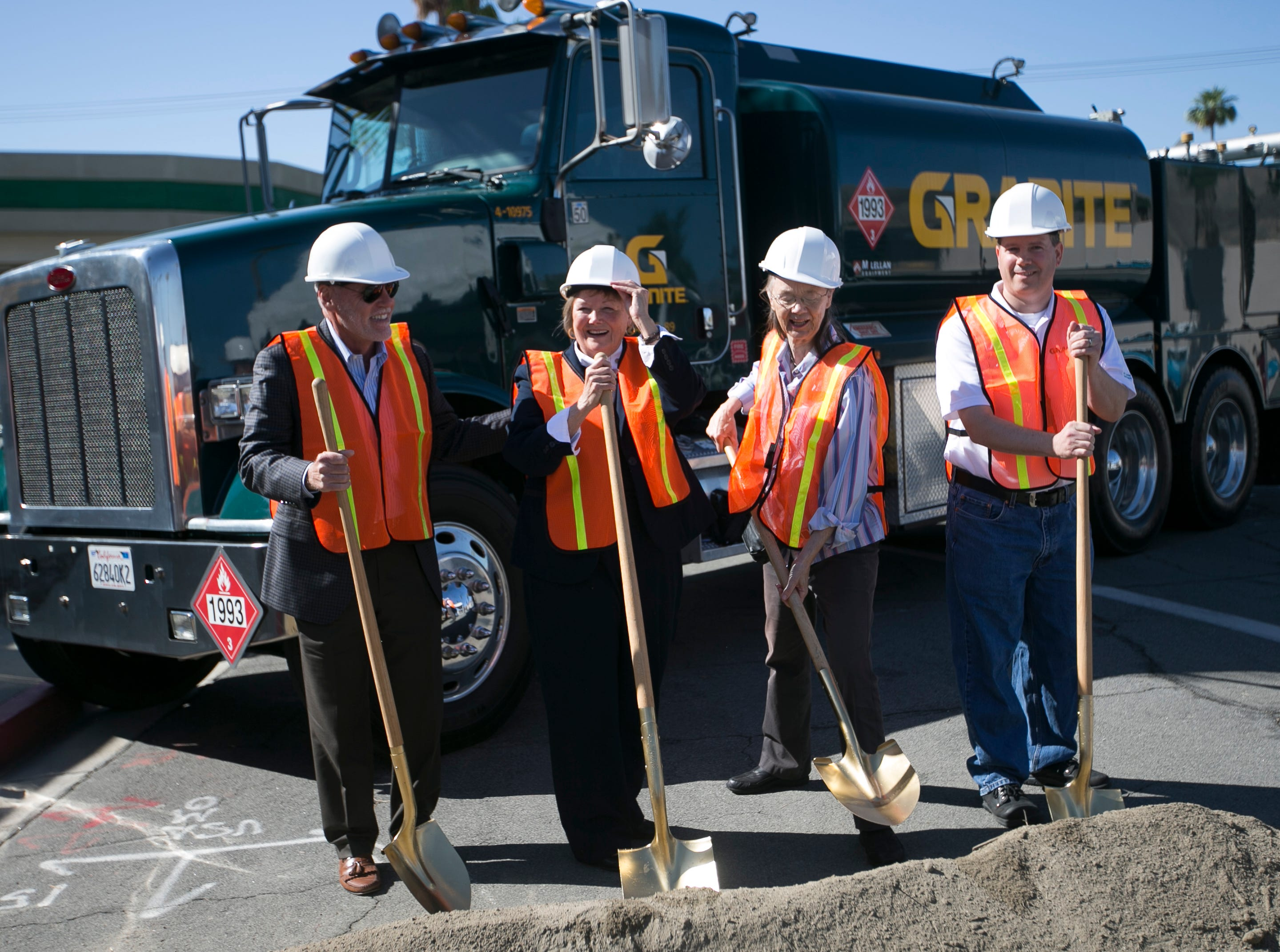 Palm Desert City Councilman Sabby Jonathan (left), Palm Desert Mayor Susan Marie Weber (center left), City Councilwoman Kathleen Kelly (center right) and Granit Construction Joe Richardson (right) participate in the ground breaking ceremony for the construction of a new San Pablo Avenue designed to be a city center in Palm Desert on Wed. May 1, 2019.
