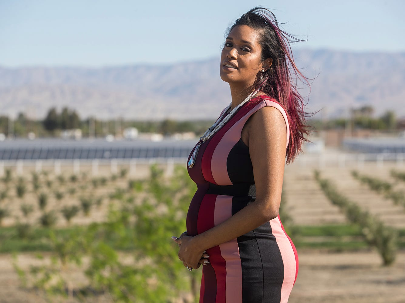 Amanda Vance, the 32-year-old tribal chairof the Augustine Band of Cahuilla Indians is photographed on the reservation in late March 2019.