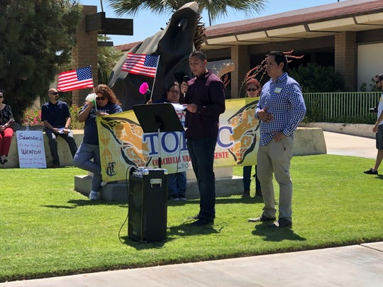 Indio City Council member Oscar Ortiz speaks Wednesday at a May Day rally at Indio City Hall.