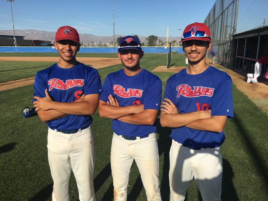 Indio's three four-year varsity players (from left) Erik Burciaga, Pedro Amavizca and Cipriano Rivera are a big reason the Rajahs won their first league title since 2003.